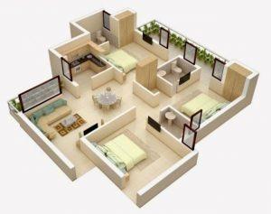 Berbagai Inspirasi Denah Rumah 3 Kamar Untuk Dijadikan Referensi