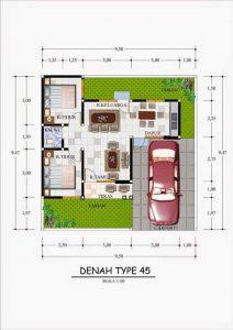 Membuat Konsep Dasar Denah Sebuah Rumah Dengan Type 45