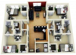 Membuat Denah Rumah Empat Kamar